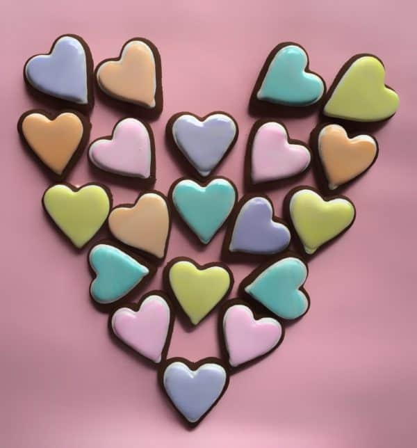 Hand Painted Iced Chocolate Shortbread Hearts - Redgum Cookie Company